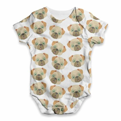 Funny Baby Clothes Pug Dog Pattern Baby Unisex ALL-OVER PRINT Babygrow Bodysuit