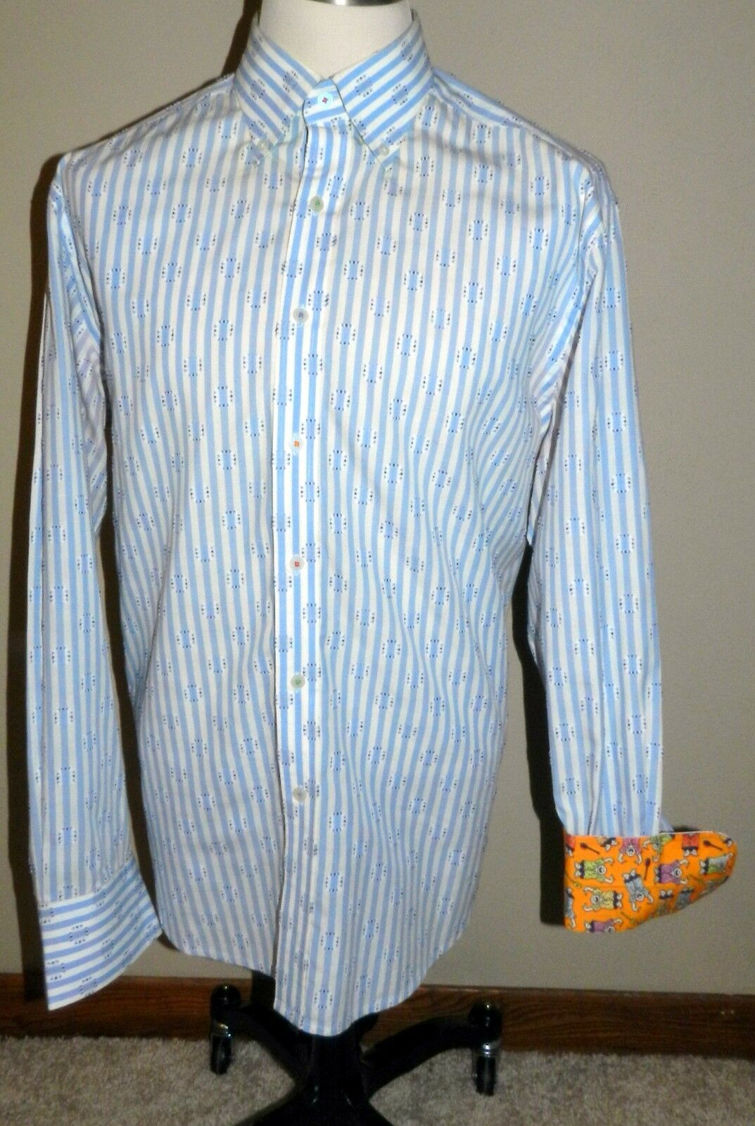 Authentic Robert Graham Embroidered bluee Striped Mens XL Long Sleeve Button Down