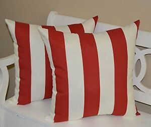 Set Of 2 In Outdoor Square Throw Pillows Red White Stripe 20
