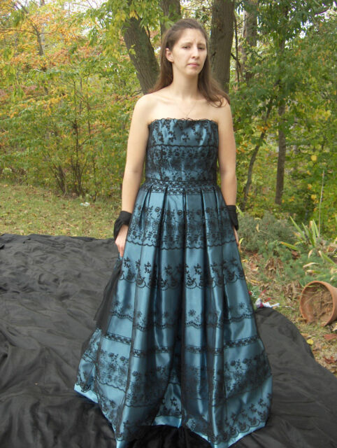 Kleinfeld Rose Taft Blue Black Lace Formal Gown Dress 10 Usa Wedding