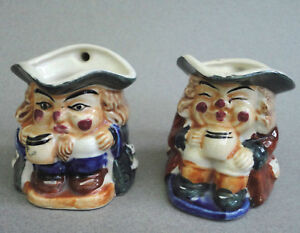 Miniature-Toby-Character-Jug-x-2-Hand-Painted-Creamer-Pitcher-Pair-2-5in-Vtg