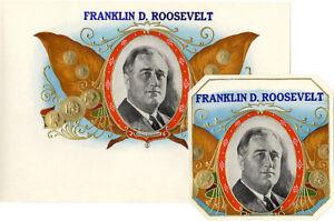 Vintage 1930s Franklin D Roosevelt Campaign Cigar Labels Set Of 2 4376 Ebay