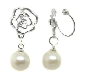 U-CLIP-ON-Drop-Pearl-Rose-Dangle-EARRINGS-Silver-Plated-CREAM-Clipon