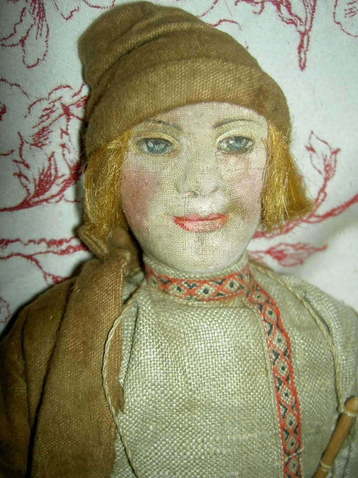 Antique stockinette cloth 15  Russian Village Boy w instrument doll & label XLNT