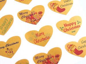 Impartial Dorés Joyeux / Noël Cœur Salutation Autocollants,Étiquettes Pour Cartes