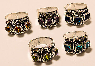 WHOLESALE LOT 5 PC LOT FACETED PERIDOT,IOLITE 925 SILVER PLATED CLASSIC RING