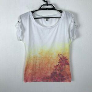Athleta T Shirt Womens Size S Short Sleeve White Orange Floral Top Blouse