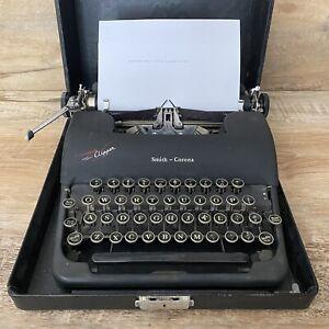 Vintage Working Smith-Corona Clipper Floating Shift Manual Typewriter w Case/Key