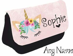 Personalised-unicorn-face-Pencil-Case-make-up-bag-school-xmas-Birthday-name-girl