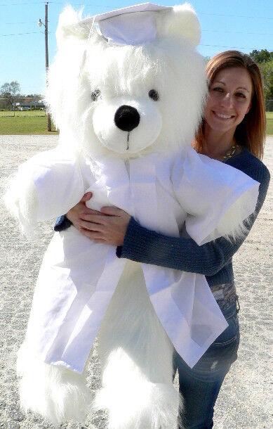 Giant bianca Teddy Bear 45 Inch Soft Wears Removable bianca Graduation Gown & Cap