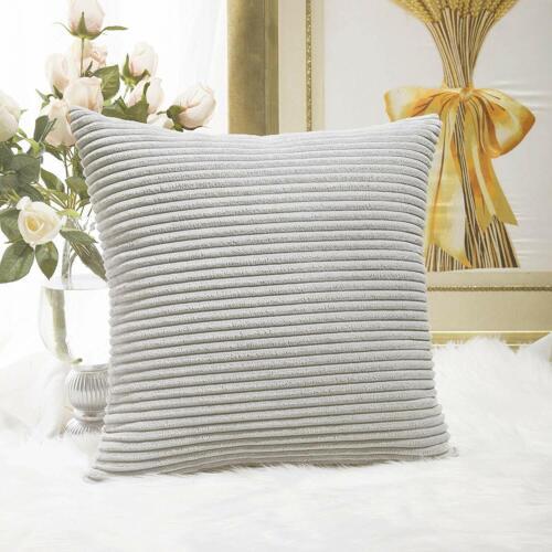 Home Brilliant Super Soft Striped Corduroy Easter Decoration Euro Throw Pillow S