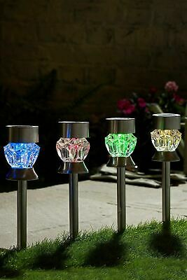 12 X 2 In 1 Multi Colore Led A Forma Di Cristallo Da Giardino Ad Energia Solare Lampada Luce Nuovo-