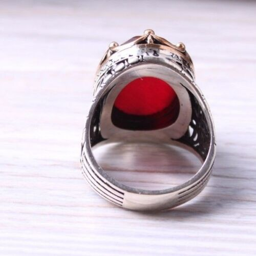 Facet KING Turkish handmade 925 Sterling Silver Ruby Stone Men ring ALL SİZE