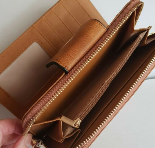 Ladies Faux Leather Purse Wallet Black or Tan /& Big Enough To Hold Mobile Phone