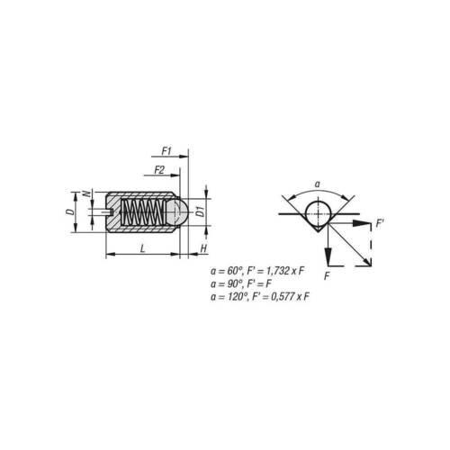 normaler Federdruck Federnde Druckstücke mit Kugel und Schlitz M6 Stahl