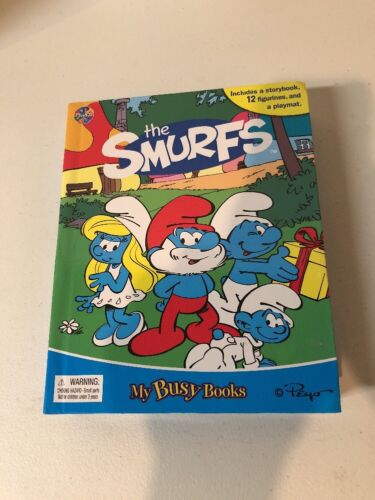NEW The Smurfs Set Of 12 Smurf Figures /& My Busy Book /& Map