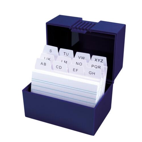 DIN A8 Farbe Herlitz Karteikasten mit 100 Karteikarten Lernbox blau