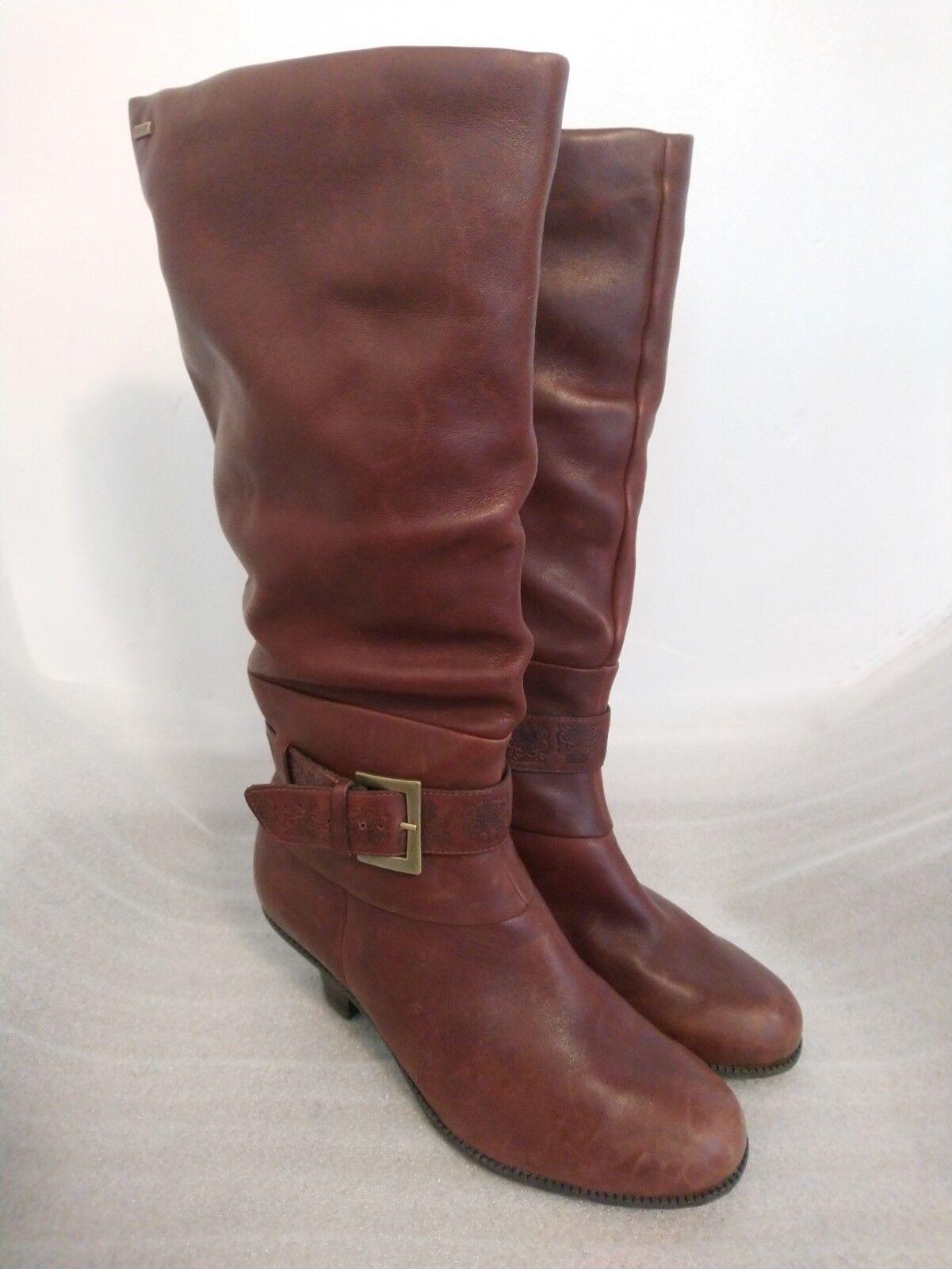 Ladies CLARKS Brown Leather Gortex Knee High Boots Size D   Waterproof Heel