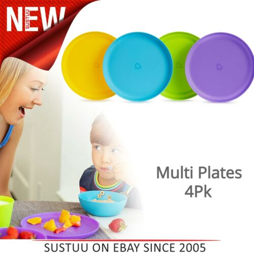 Munchkin Multi Plates│Kid/'s Mealtime Feeding Multi Colour Dining Set│Pack of 4