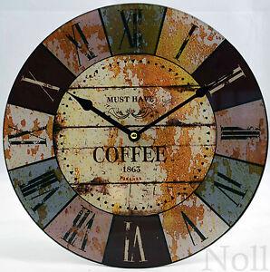 Uhr Wanduhr Modern Landhaus Küche Bunt Glas Groß Xl 30 Cm Ebay