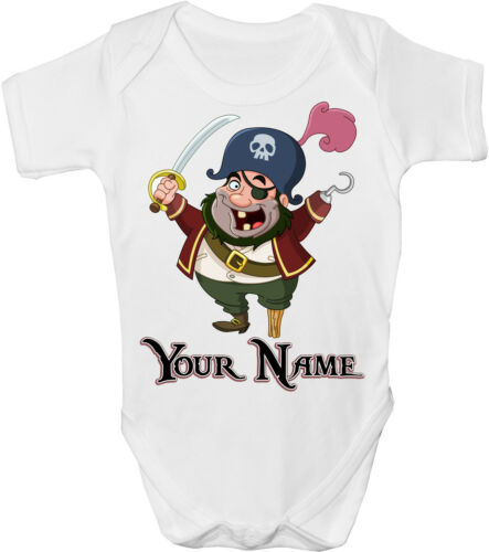GRO //BODYSUIT PIRATE PERSONALISED SUBLIMATION BABY VEST **GREAT NAMED GIFT**