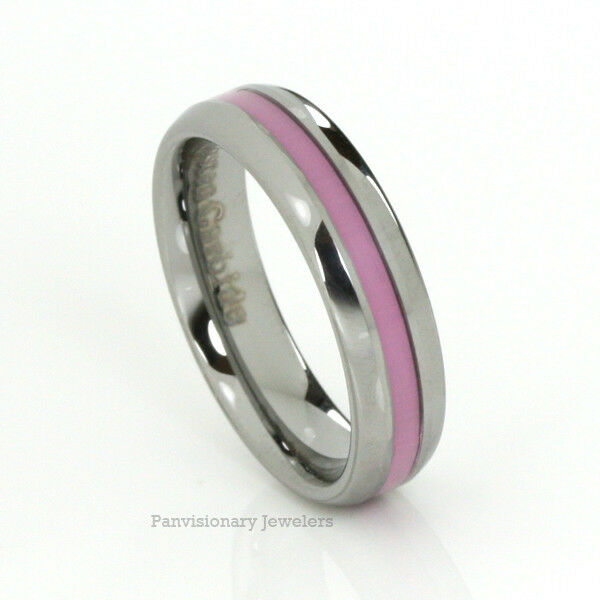 Pink Ring Breast Cancer Awareness Tungsten Natural 6MM Dome Donations