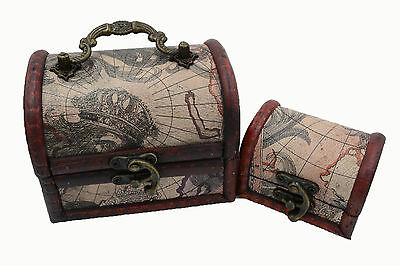 2x Retro map Pirate Treasure Chest  charm Trinket Woodencase party box decor