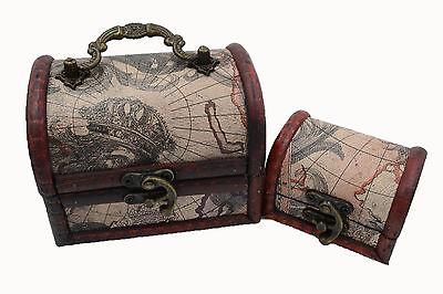 2x Retro map Pirate Treasure Chest  charm Trinket Woodencase party box decor