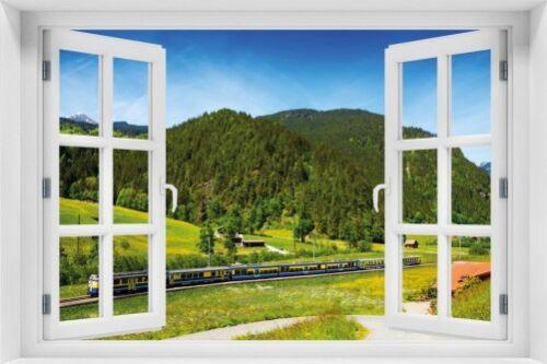 Eisenbahn einer Wallario Maxi-Poster 61 x 91,5 cm mit Fensterrahmen