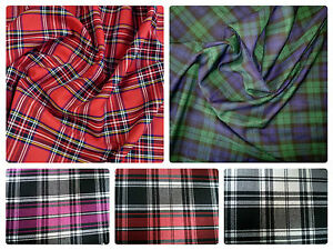 Stretch-Tartan-Fabric-PolyViscose-57-034-145cm-Wide-per-metre-or-half-Plaid