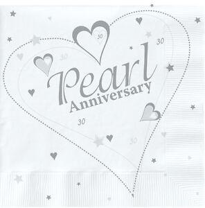 2652 Pack of 15 Pearl 30th Wedding Anniversary Napkins 33cm x 33cm