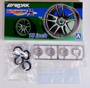 "Aoshima 1/24 Workemotion Kiwami 18"" Wheel & Tire For Plastic Models 5300 (22)"