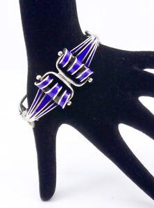 Détails Argent Massif Et Années Bracelet Sur Vintage 6070 Ancien Bleu En Email 5A34RLj