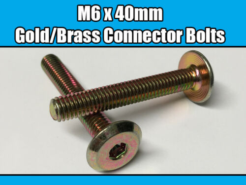 M6 x 40mm Gold Brass Yellow Furniture Connector Bolts Allen Key Joint Fixing New