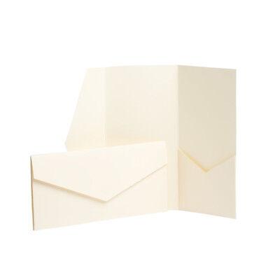Ivory Pocketfold Invites Envelope Cards Pocket Fold Wedding Invitations DL