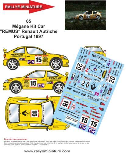DECALS 1//18 REF 65 RENAULT MEGANE MAXI SPERRER RALLYE DU PORTUGAL 1997 RALLY WRC
