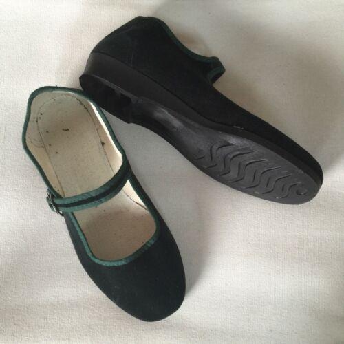 Chinaschuhe Samtschuhe BallerinasTrachtenschuhe Damenschuh dunkel grün 35 bis 42