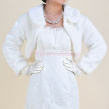 Ivory Long Sleeve Faux Fur Wedding Jacket Shawl Bridal Wrap Bolero For Dress
