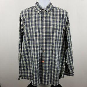 Eddie-Bauer-Legend-Wash-Mens-Blue-Green-Check-L-S-Casual-Button-Shirt-Sz-Large-L
