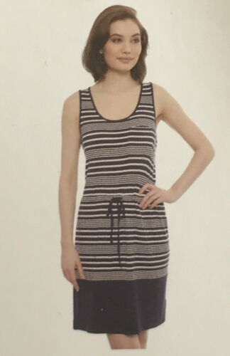 NWT Women/'s OLIVE /& OAK Sleeveless Jersey Drawstring Dress NAVY /& WHITE S