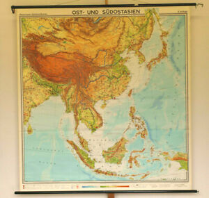 Details about Wall Map South-East Asia Vietnam Laos Cambodia Borneo China  Korea 185x196cm 1967
