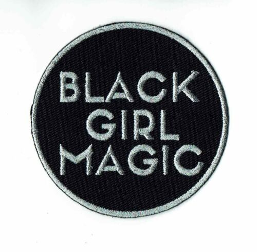 Black Magic Girl Iron-On Embroidered Patch Silver Woman Power