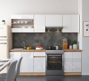 Cucina Completa Moderna.Dettagli Su Cucina Completa Componibile Moderna 7 Pezzi Lunghezza 240 Cm Bicolore