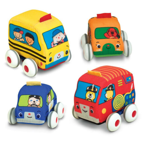 Baby Soft Toy Set 4pc Pull Back Play Car Truck Bus Toddler Carry Bag Learning