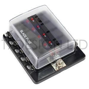 s l300 uk 12v 24v 10 way blade fuse box holder bus bar with led failure