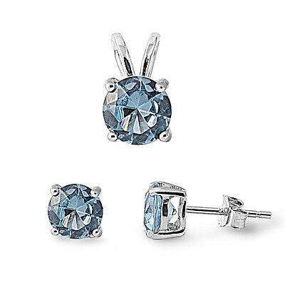 Sterling Silver Round Aquamarine Blue CZ Earring Pendant Set Jewelry