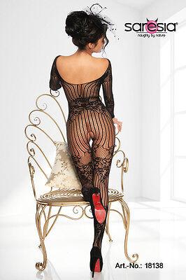 Sexy Ouvert Catsuit Netz Bodystocking Reizwäsche Dessous Bodysuit Body schwarz