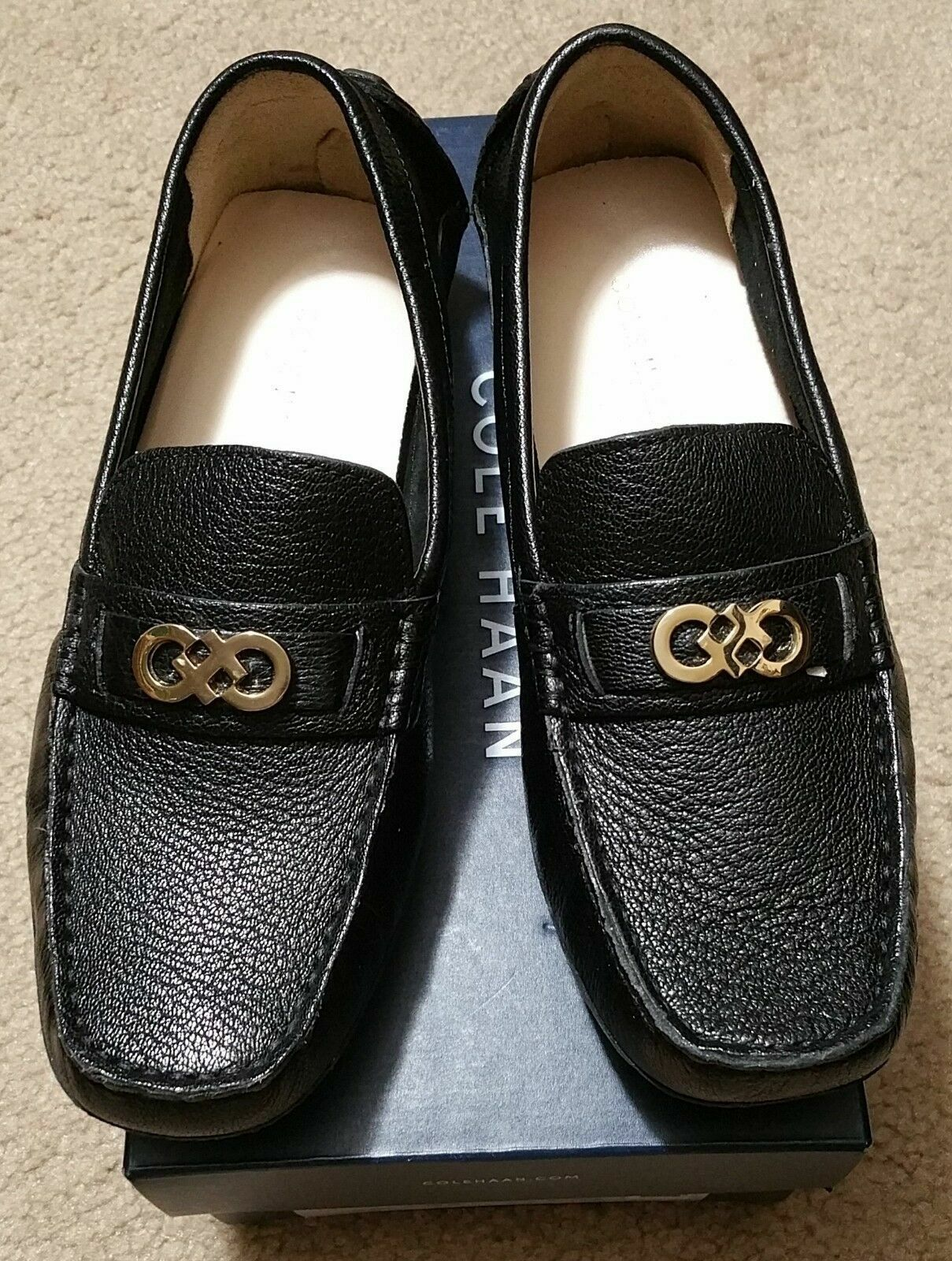 NEW Cole Haan Shelby CH Logo II Black Leather Loafers - Size 5.5, Medium Width