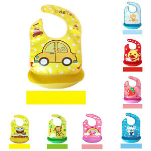 Silicone Bibs Soft Waterproof Easily Wipes Clean Comfortable Feeding For Baby