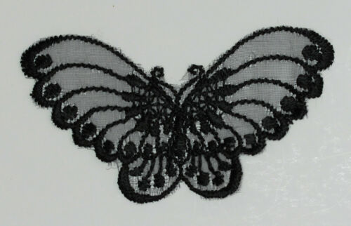 Red Lt Gold Venise Embroidered Lace Butterfly Motifs Col: Black Lt Blue